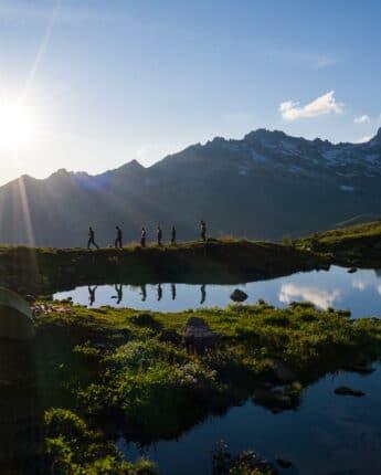 Lac Blanc au coucher du soleil en été à Saint François Longchamp